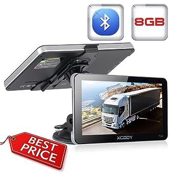 Xgody 704 - Sistema de navegación GPS para camión con Bluetooth para coche, pantalla táctil capacitiva de ...