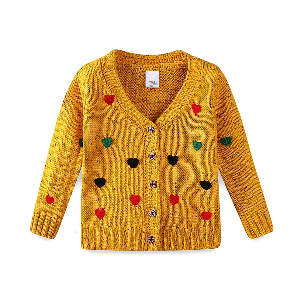Girls Cardigan Sweaters Cute Colorful Love Button Outwear Yellow 120cm