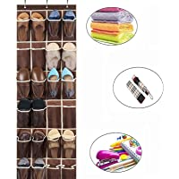 "Auma 24 Mesh Shoe Storage Pockets- Over The Door Hanging Shoe Organizer,Brown (60""x 18"")"