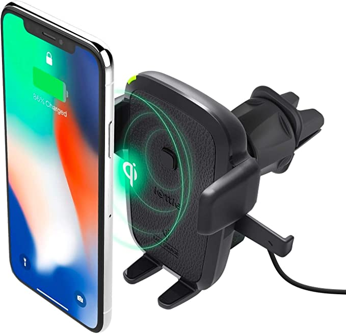 iOttie Easy One Touch Qi Wireless Charger Vent Mount || Fast Charge for Samsung Galaxy, Note 9 & iPhone & Qi Devices | + Dual Charger, HLCRIO135AM