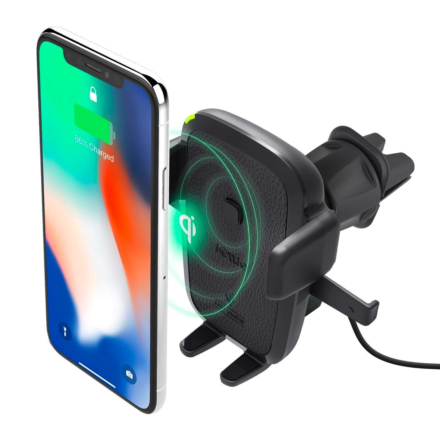 iOttie Easy One Touch Qi Wireless Charger Vent Mount || Fast Charge for Samsung Galaxy S10 E S9 S8 Plus Edge, Note 9 & Standard Charge for iPhone XS Max XS 8 Plus & Qi Devices | + Dual Charger by iOttie