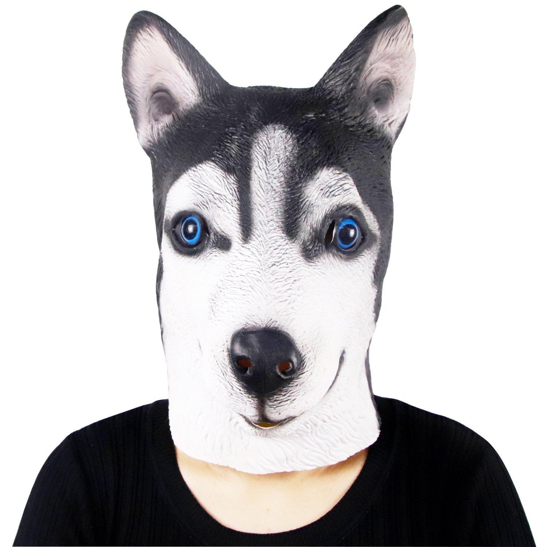 Waylike Novelty Husky Dog Animal Head Masks Halloween Party Cosplay Costume Decorations