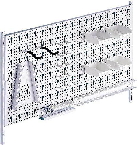 chevilles et paroi perfor/ée pour rangement des outils Blanc Element System 18133-00421 Tableau /à outils en m/étal Plus 18 pi/èces avec vis