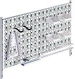 Element System Panel perforado para herramientas de metal con juego de portaherramientas de 19 piezas incluyendo tornillos y tacos, panel para herramientas blanco, accesorios de banco de trabajo
