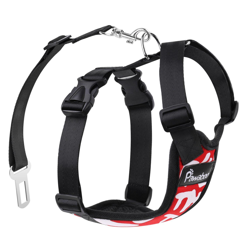 Pawaboo Pettorina di Sicurezza per Cani, Imbracatura Regolabile per Auto Viaggio Cintura con Clip per Cintura Auto, Taglia Medio, Rosso con Bandiera del Regno Unito