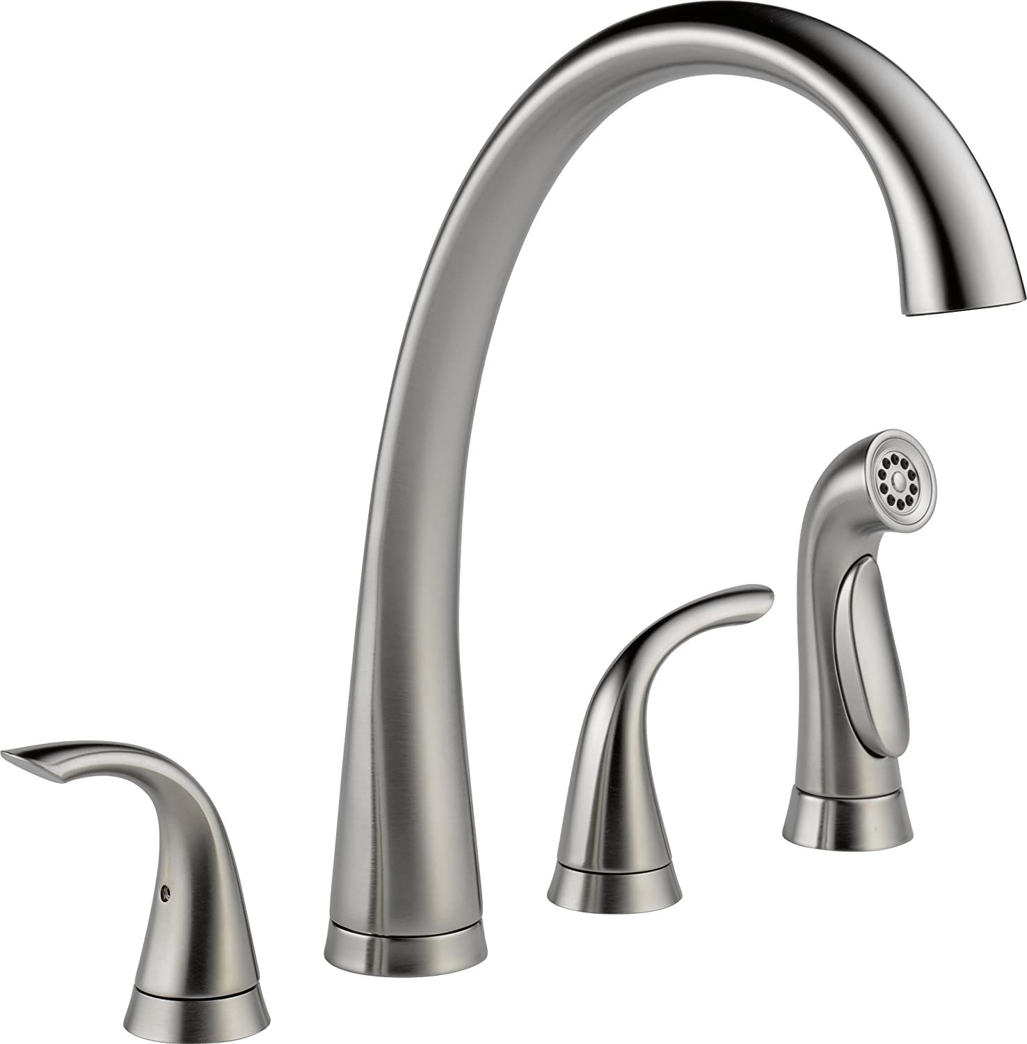 delta faucet 2480 dst pillar two handle widespread kitchen faucet with spray chrome touch on kitchen sink faucets amazon com