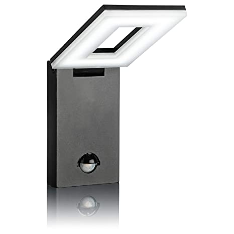 SEBSON LED Lámpara de exterior con sensor movimiento, lámpara de pared, Negro, Aluminio, 10W, 650lm, 6500K, orientable, IP54, 298x100x26mm: Amazon.es: ...
