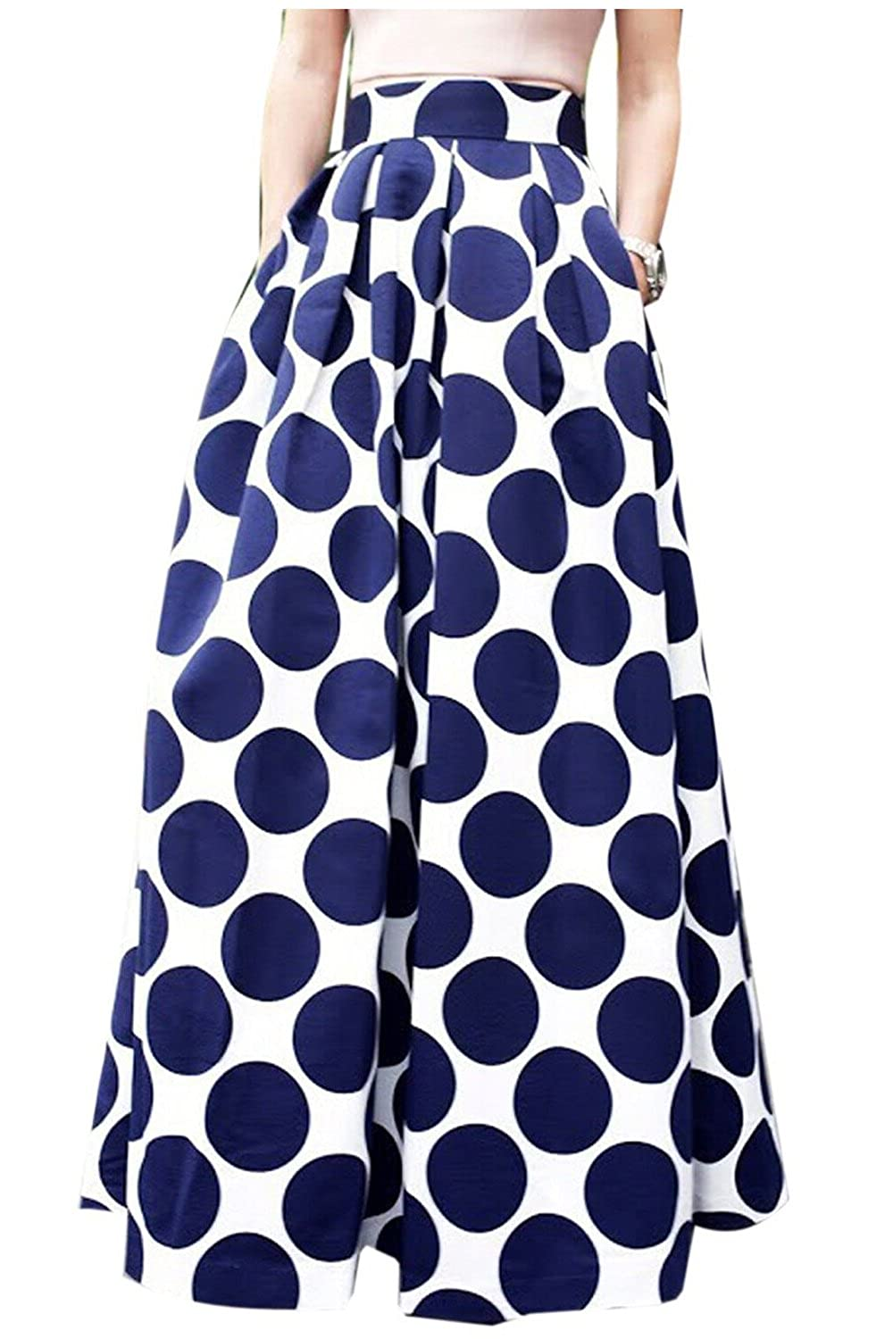 Aifer Women's White Contrast Polka Dot Print A-Line Pleated Maxi Skirt