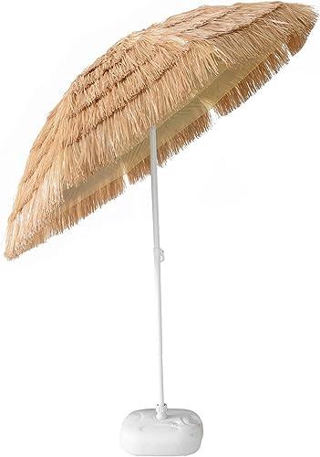 CASUN GARDEN 7ft Hula Thatched Tiki Umbrella Hawaiian Style Beach Umbrella, Natural Color