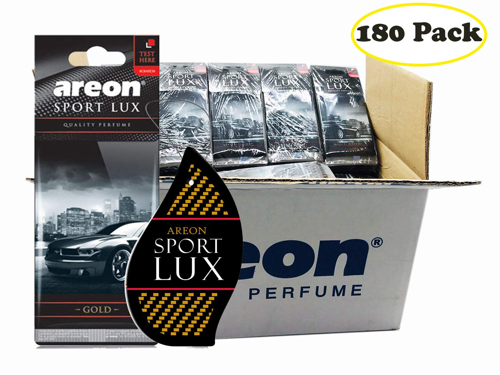 Areon Sport LUX Quality Perfume/Cologne Cardboard Car & Home Air Freshener (180, Gold)