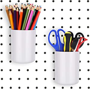 2 Pieces Pegboard Bins Kit Pegboard Cups Plastic Pegboard Parts Storage Pegboard Accessories for Crafts Organizing (White)