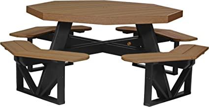 Furniture Barn USA Poly Octagon Picnic Table   Antique Mahogany And Black