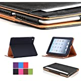 I4UCase Apple iPad 2 / iPad 3 / iPad 4 Case - Soft Leather Stand Folio Case Cover for iPad 2 / iPad 3 / iPad 4, with Multiple Viewing angles, Auto Sleep/Wake, Document Card Pocket (Black)