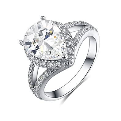 Womens 4.0 Carat Pear Cut Wedding Engagement Ring White Gold Plated Size 5-9 Vivid And Great In Style Jewelry & Watches