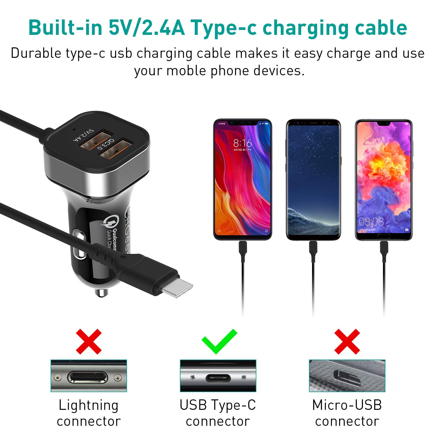 CHGeek 30W Chargeur Allume Cigare USB Rapide QC3.0 e 5V 2.4A Extreme Mini Adaptateur Allume-cigare USB avec Smart IC USB Port pour iPhone Chargeur Voiture USB Samsung,Android.