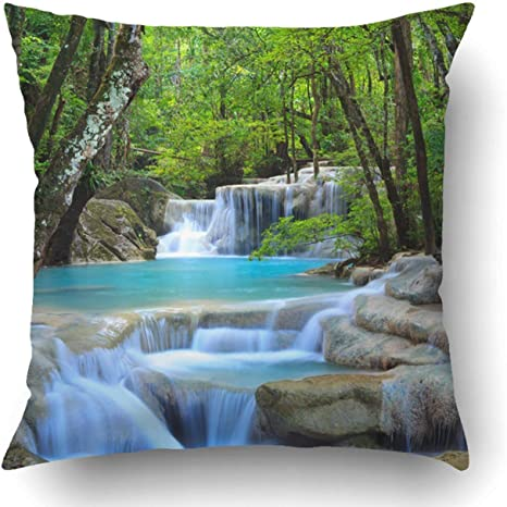 Amazon Com Custom Erawan Waterfall Kanchanaburi Thailand Pillowcase Pillow Cushion Cover 20x20 Inch Home Kitchen