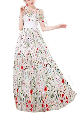 WDH Dress Amazing White Embroidery Evening Dress Lace Up Prom Dress 16
