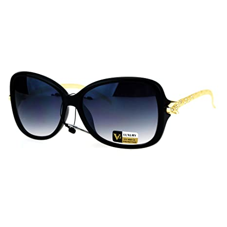 ae8e9424b8d7 Amazon.com  Womens Serpent Snake Jewel Arm Plastic Butterfly Designer  Sunglasses Black  Clothing