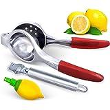 Lemon and Lime Squeezer w/Citrus Zester Peeler and Lemon Spritzer - Manual Juicer Citrus Press - Extra Large, Silicone Handles, Heavy Duty