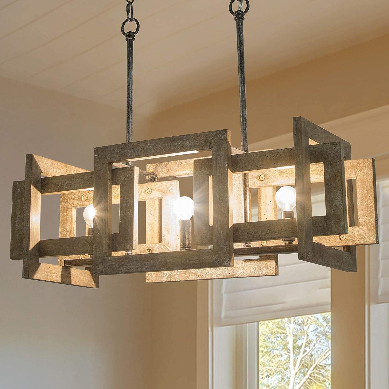 LOG BARN Farmhouse Chandelier, 3-Light Handmade Wood Dining Room Chandelier, 22'' Rectangular Kitchen Island Lighting