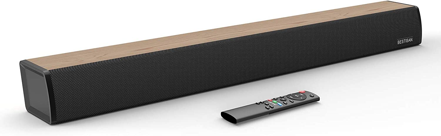 Sound Bar, BESTISAN Soundbar for TV, 2.0 Channel Sound bar with Wired and Wireless Bluetooth 5.0 Home Audio Speaker (24-Inch, 60W, Deep Bass, 3 Equalizer Modes, Optical/Coaxical/Aux in Connection)