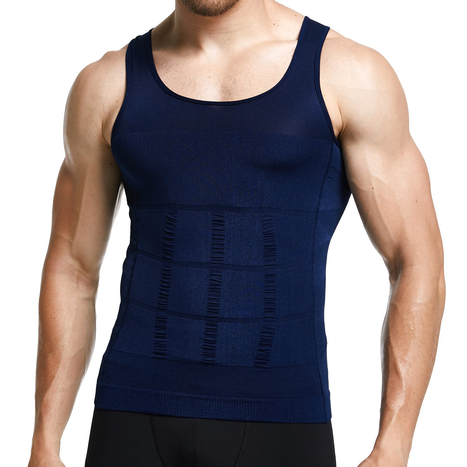 GKVK Mens Slimming Body Shaper Vest Shirt Abs Abdomen Slim,XL(chest size 106cm-110cm/42inches-44inches),Blue