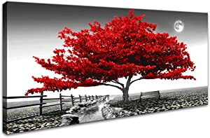 "Landscape Pictures Wall Art for Bedroom living Room Red Tree Canvas Wall Decor 1 Pieces Modern Canvas Print Artwork Nature Pictures Painting Giclee Prints Framed for Home Office Decor 24"" x 48""inch"