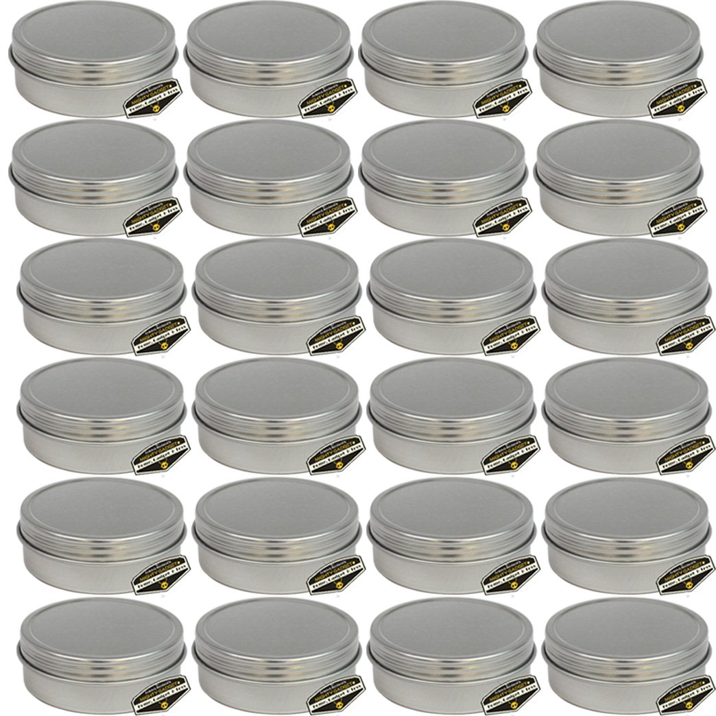 Mighty Gadget (R) 4 oz Round Tins Screw Lid Container (24 pack)