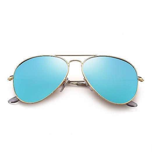 Lunettes de Soleil Rétro Miroir Aviateur Lunette Solaire Verre Flash Teinté pour Homme Femme UV400 (Or/G15) s8ayt1LcUg
