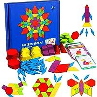 155 Pcs Wooden Pattern Blocks Set - Geometric Shape Puzzle Kindergarten Classic STEM Educational Montessori Tangram Toys…