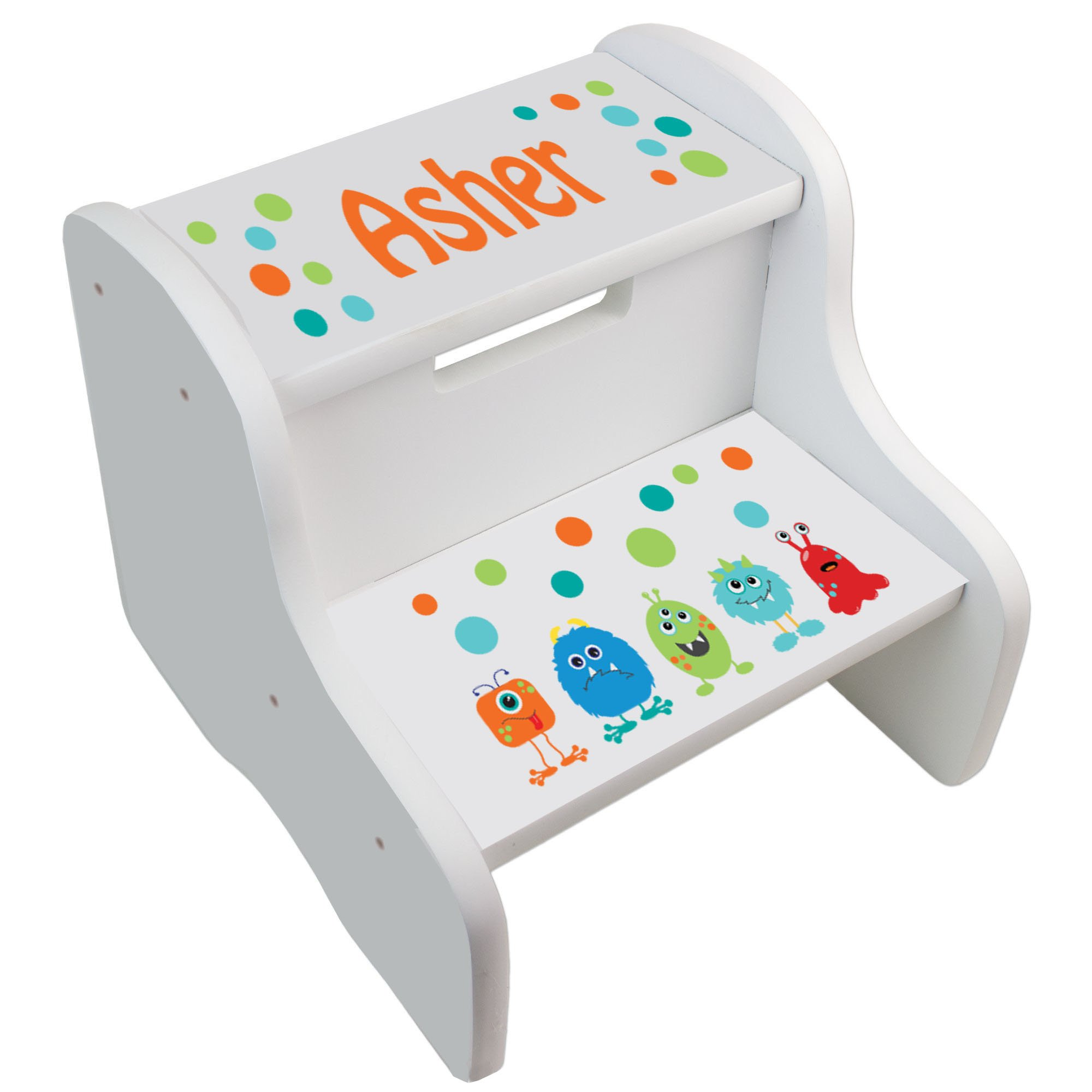 Personalized Monster White Step Stool