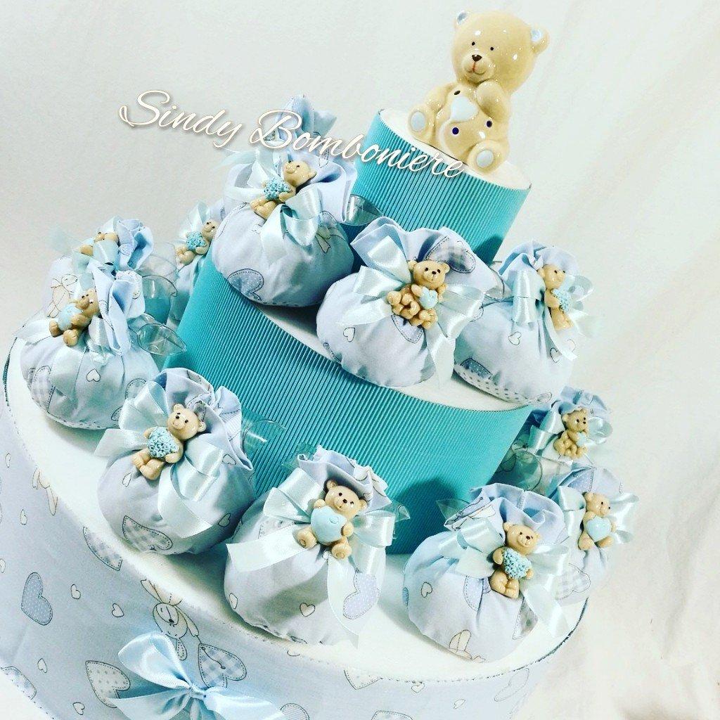 Idea Idea Idea para Bomboniere bautizo nacimiento con saquitos con oso para bebeacute; bebeacute; azul abb6d1