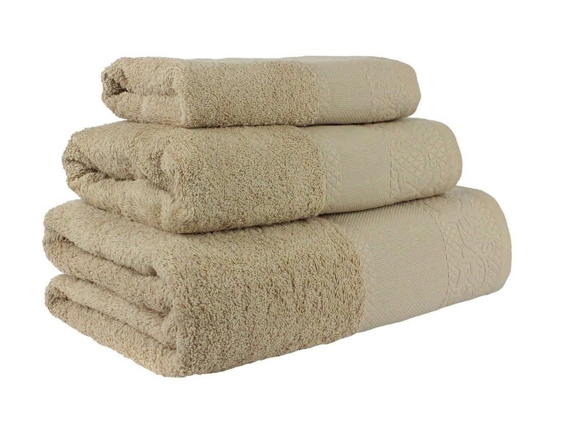 (Camel) Juego de toallas de baño 3 piezas REGALITOSTV (1 toalla de baño, 1 toallas de manos y 1 toalla cara) 100% algodón, varios colores, toallas ligeras ...