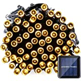 Qedertek Solar Christmas String Lights, 39ft 100 LED Fairy Decorative Lights for Outdoor, Garden, Patio, Lawn, Party and Holiday Decorations, Waterproof (Warm White)