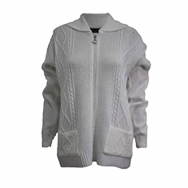 1aeb9d5a6484 New Womens Ladies Cable Knit Long Sleeve Zip Collar Jumper Top Cardigan 8  -14  Amazon.co.uk  Clothing