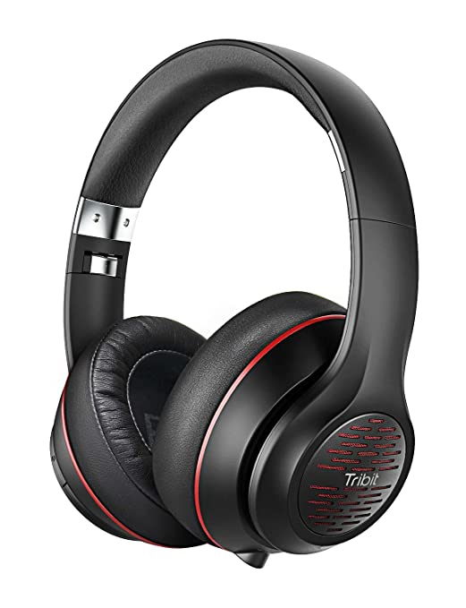 Tribit X Free Tune Bluetooth Headphones Over Ear   Wireless Headphones 40 Hrs Playtime, Hi Fi Stereo Sound With Rich Bass, Built In Mic, Soft Earmuffs   Foldable Headset With Carry Case, Black/Red by Tribit