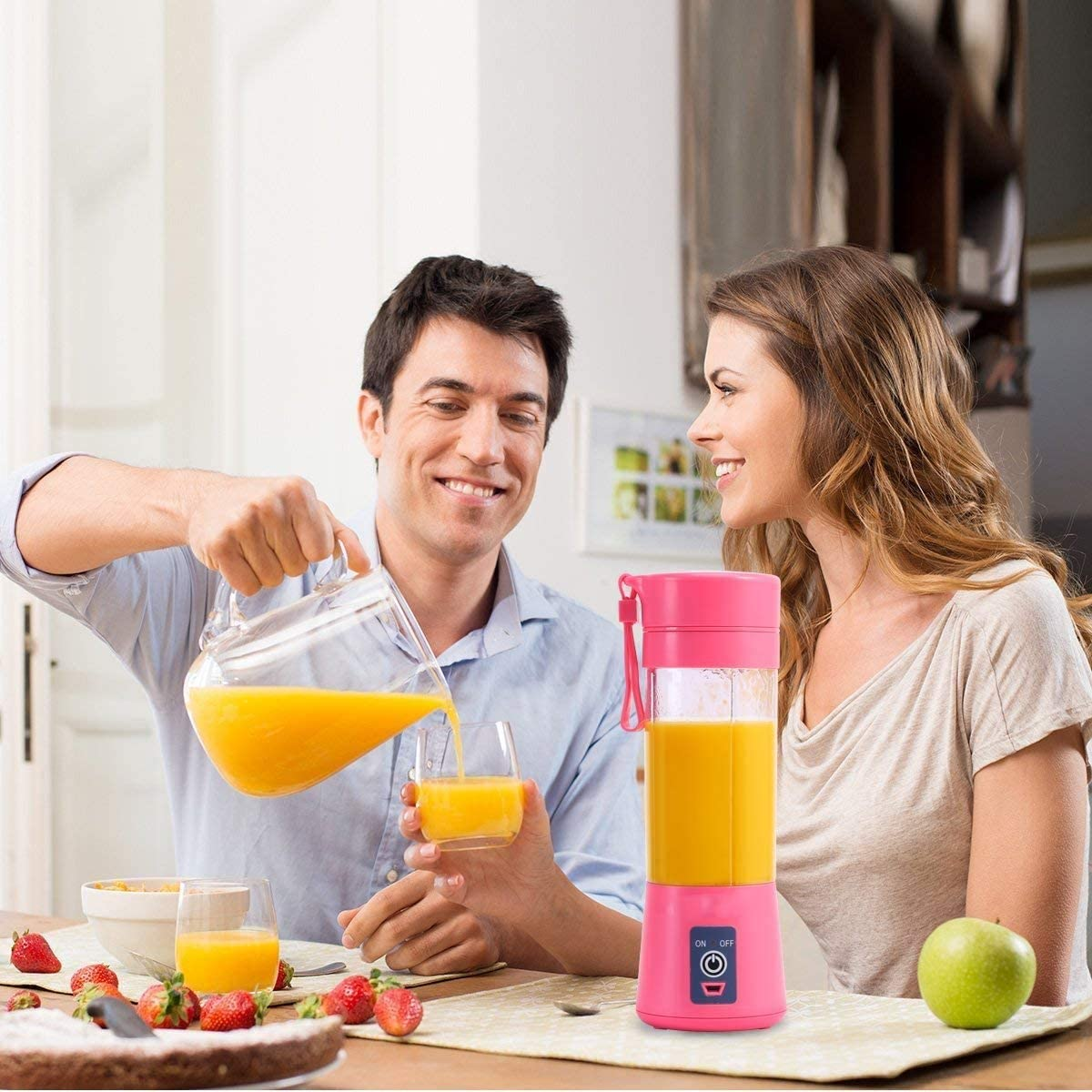 Portable Juicer Blender, Home Fruit Blender, USB Juicer 4 Cup Blade 3D, With USB Charging Cable, 380ml Fruit Blender, Suitable for Family Outdoor Travel, Such as Smoothies and Milkshakes (Plum, Sky Blue, Light Green, Pink Color) (380ML, Pink Color)