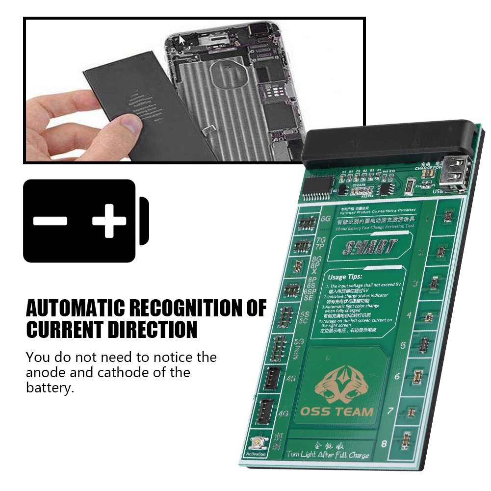 Eboxer Universal Batterie Fast Charge Aktivierungsplatine Test Fixture Kit f/ür iOS//Android-Telefon