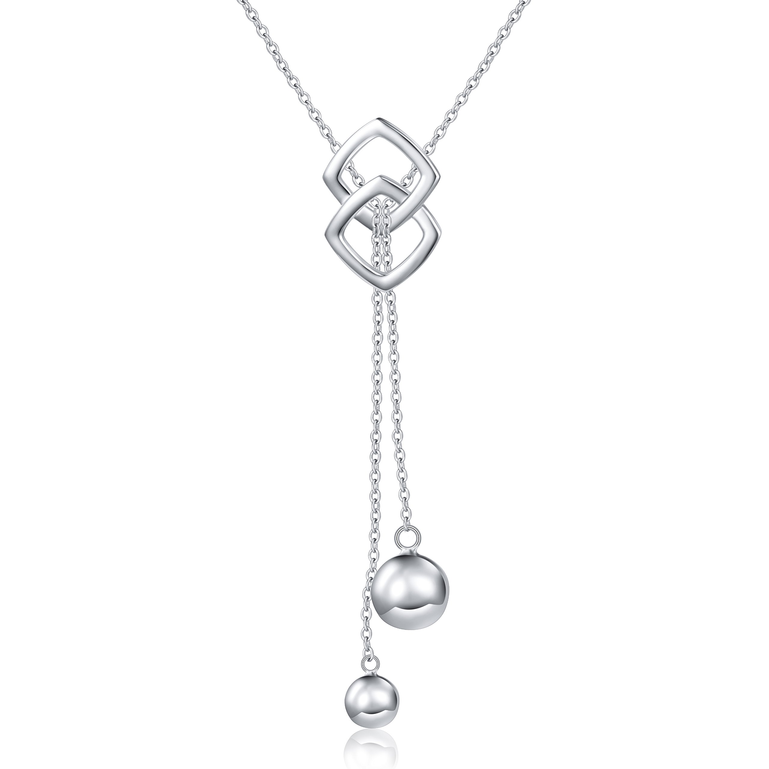 SILVER MOUNTAIN Long Necklace S925 Sterling Silver Tassel Round Ball Necklace for Women, 30'' (Chain adjustable)