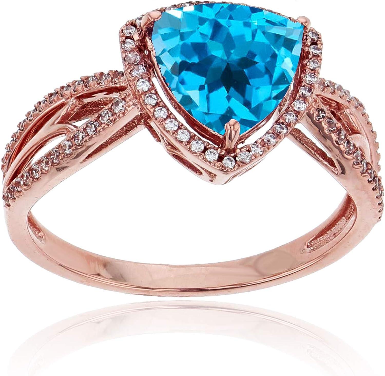 Sterling Silver Rose 0.20 CTTW Round Diamond /& 8mm Trillion Gemstone Split Shank Ring