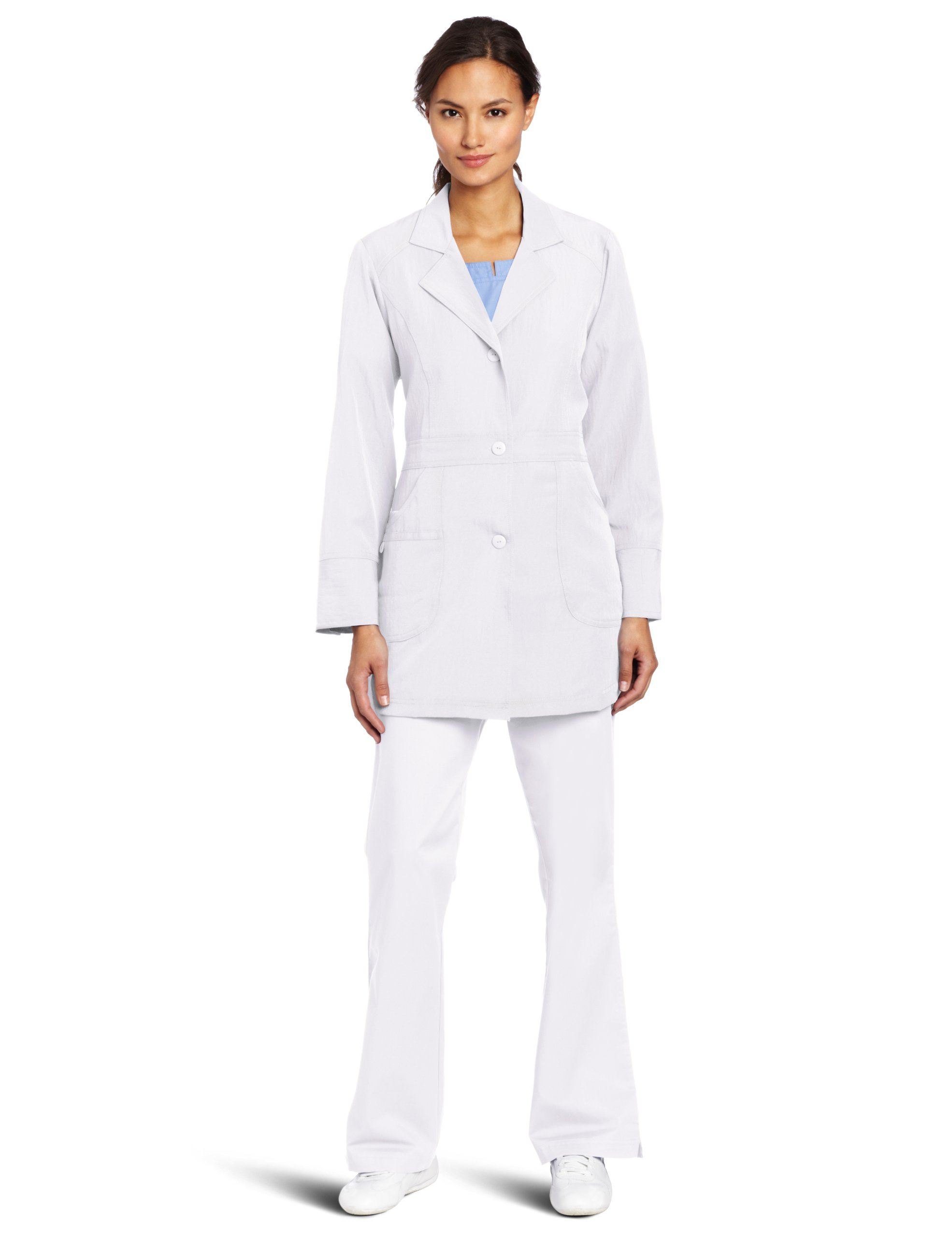 WonderWink Women's Scrubs Utility Girl Stretch Lab Coat, White, Large