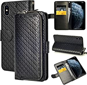 LAMEEKU Wallet Case for iPhone X, iPhone Xs Wallet Case, Zipper Purse Leather Flip Folio Case with Card Holder Kickstand Feature Wrist Strap Shockproof Protective Cover for iPhone Xs/X 5.8'' Black