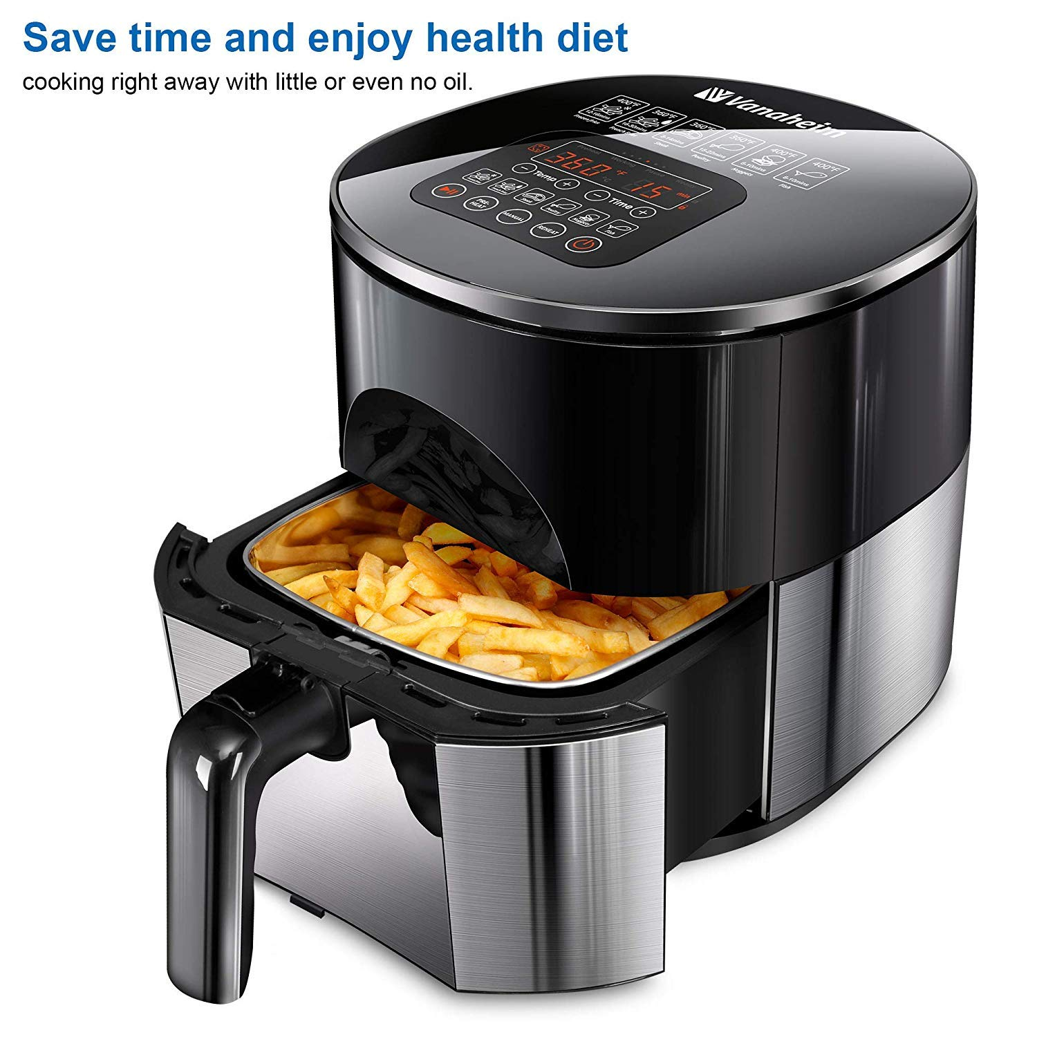 Vanaheim 4.2Qt Touch Screen Air Fryer 6-in-1 with Stainless Steel Fryer Basket and Recipe Book for Healthy Oilless Fry