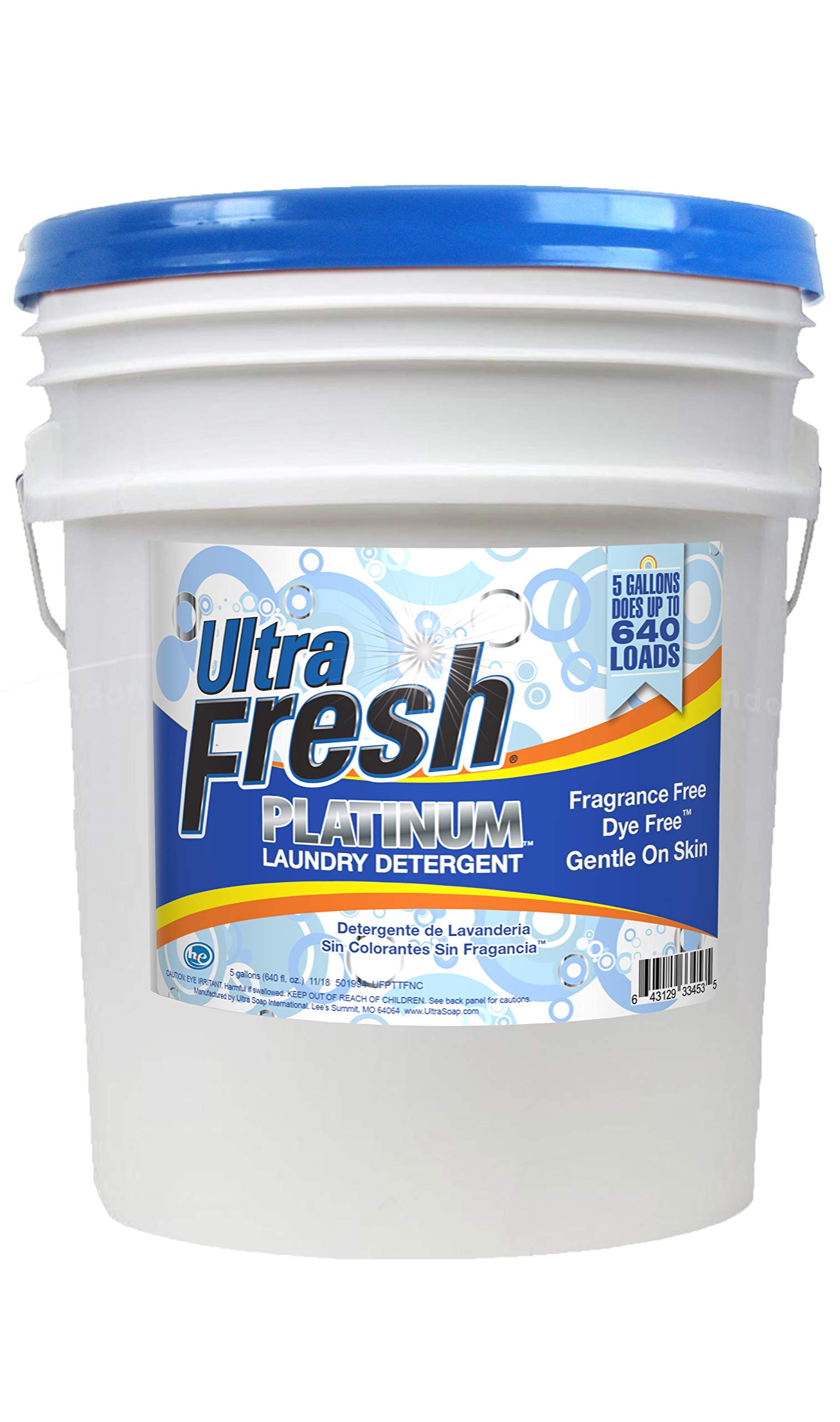 Ultra Fresh UFPTTFNC Platinum Fragrance Free and Dye Free Liquid Laundry Detergent, 5 gal, 640 oz. by Ultra Fresh