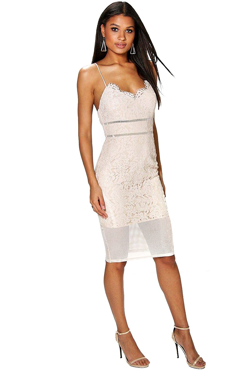 Nude Womens Sabina All Over Lace Panelled Midi Dress