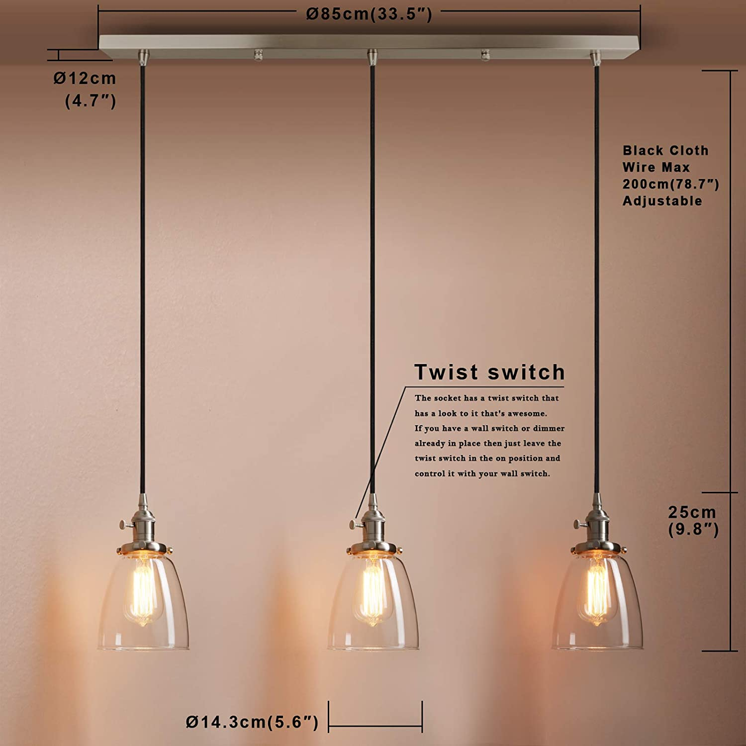 Pathson Industrial 3-Light Pendant Lighting Kitchen Island Hanging Lamps with Oval Clear Glass Shade Chandelier Ceiling Light Fixture (Black) Brushed Steel