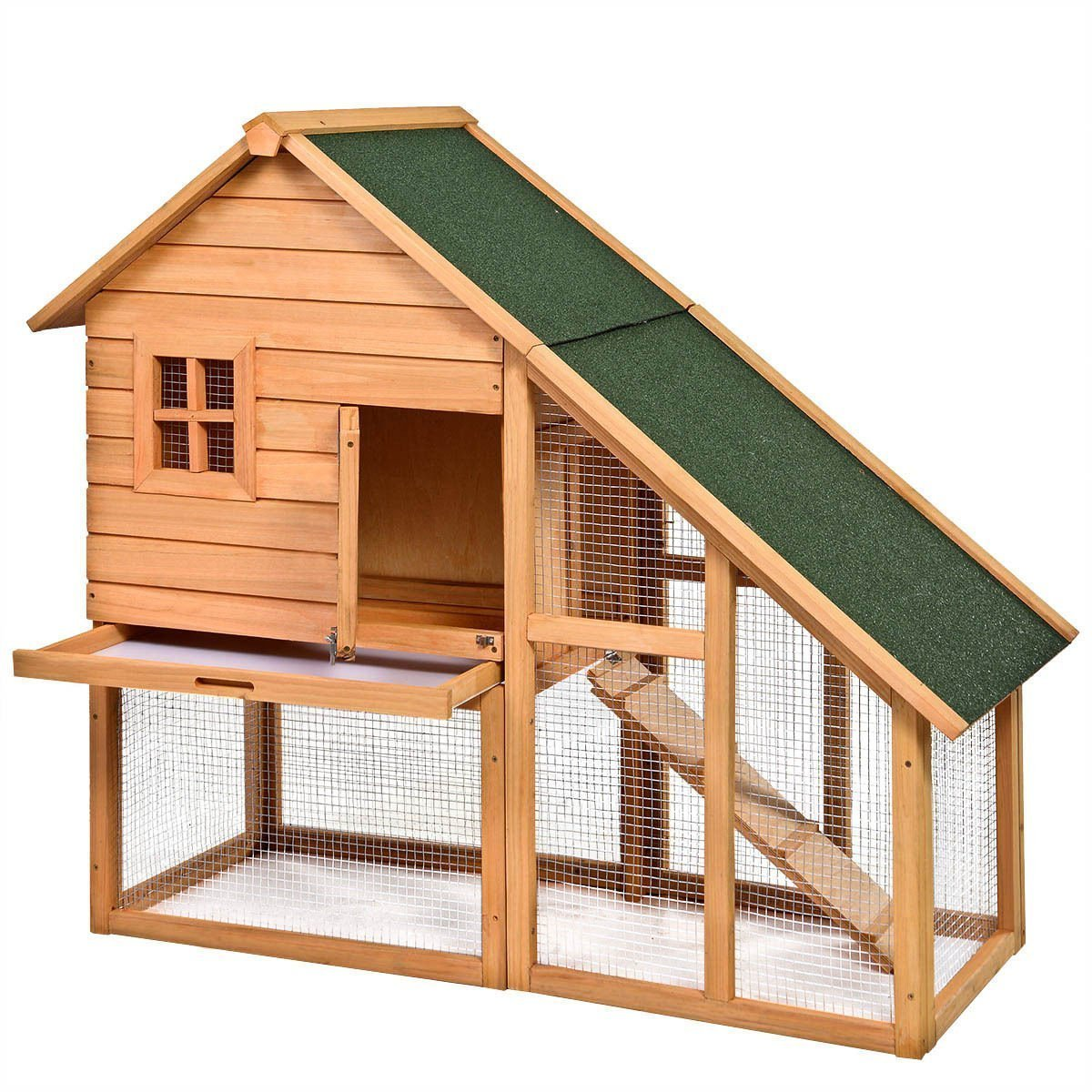 Tangkula Deluxe Wooden Chicken Coop 55'' Hen House Rabbit Wood Hutch Poultry Cage Habitat by Tangkula (Image #1)