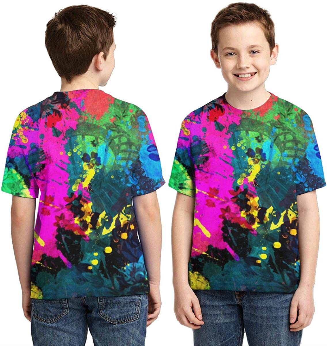 BIAN-64 Youth Colorful Paint Splatter Casual 3D Pattern Printed Short Sleeve T-Shirts Top Tees