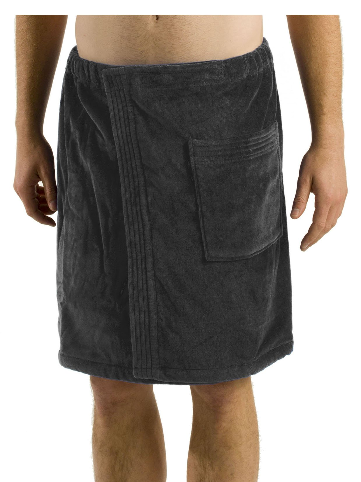robesale Bamboo Cotton Mens Spa Wrap, Charcoal, One Size