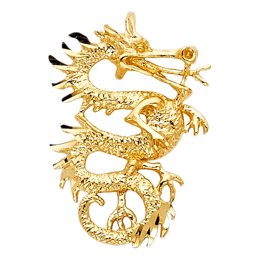 14K Yellow Gold Dragon Charm Pendant For Necklace or Chain